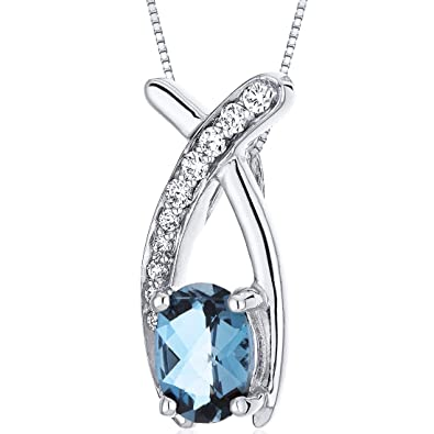 Revoni 925 sterling silver oval cut london blue topaz pendant with revoni 925 sterling silver oval cut london blue topaz pendant with necklace of 46cm aloadofball Images