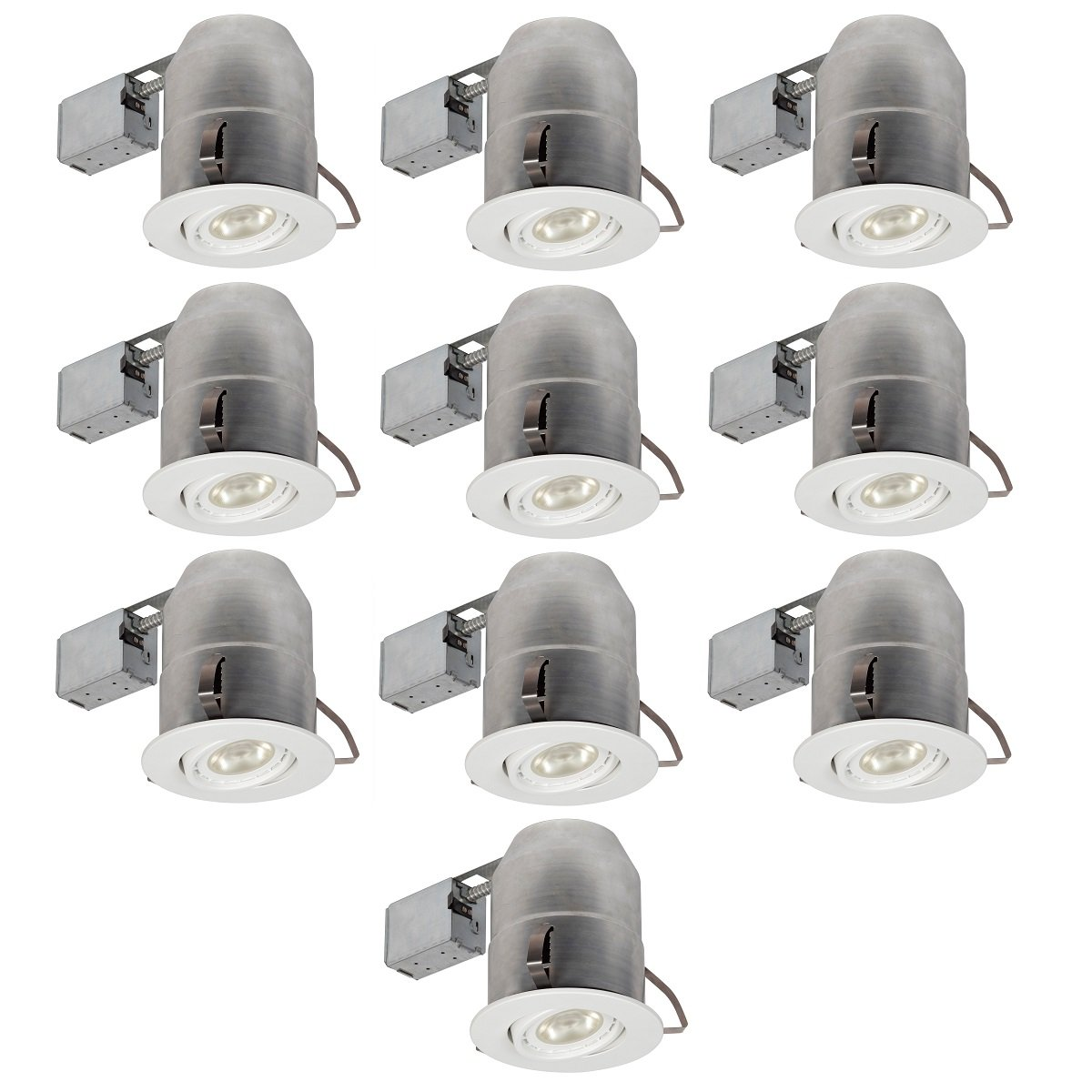 Globe Electric 6'' Swivel Spotlight Round Recessed Lighting Kit Dimmable Downlight, Contractor's 10-Pack, White Finish, 9100901