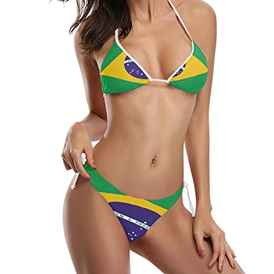 Abbylife Brazil Flag 2 Piece Tie Side Triangle Bikini Swimsuit Black: Clothing