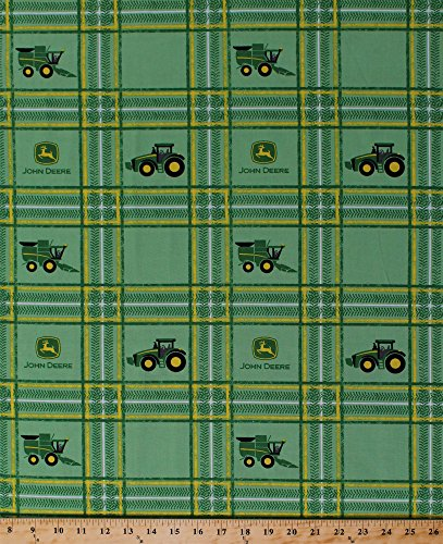 - John Deere Tractor Plaid Logo Tractors Combine Combines Farming Farmer Squares Green Cotton Fabric Print by The Yard (59372-A620715)