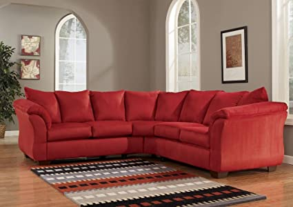 Amazoncom Red Upholstery Fabric Sectional By Ashley Furniture