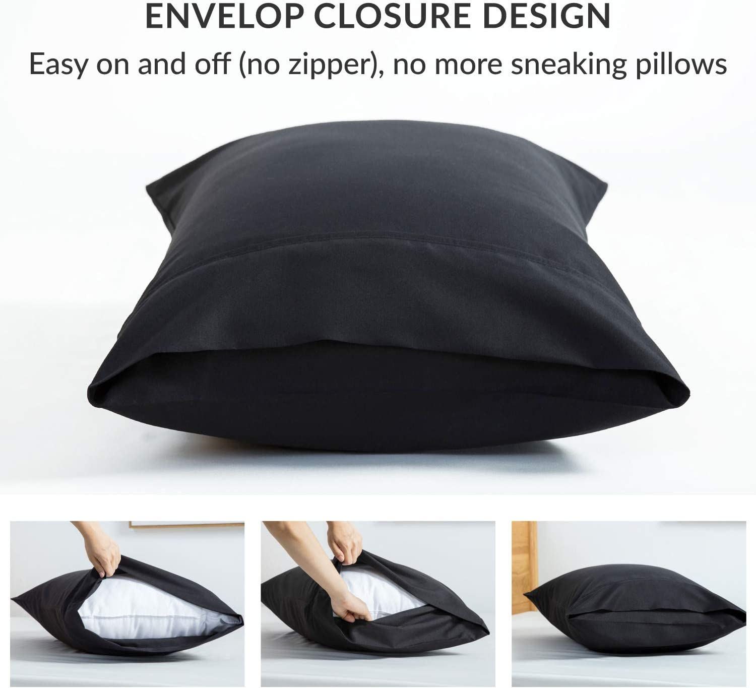 Bedsure Brushed Microfiber Pillow Cases Black Pillowcases 2 pack with Envelope Closure 50 x 75 cm