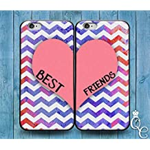 *BoutiqueHouse* iPhone 4 4s 5 5s 5c SE 6 6s plus iPod Touch 4th 5th 6th Generation Cute Best Friends Pink Heart Purple Chevron Pattern Custom Cover Bff Case(iPhone SE)