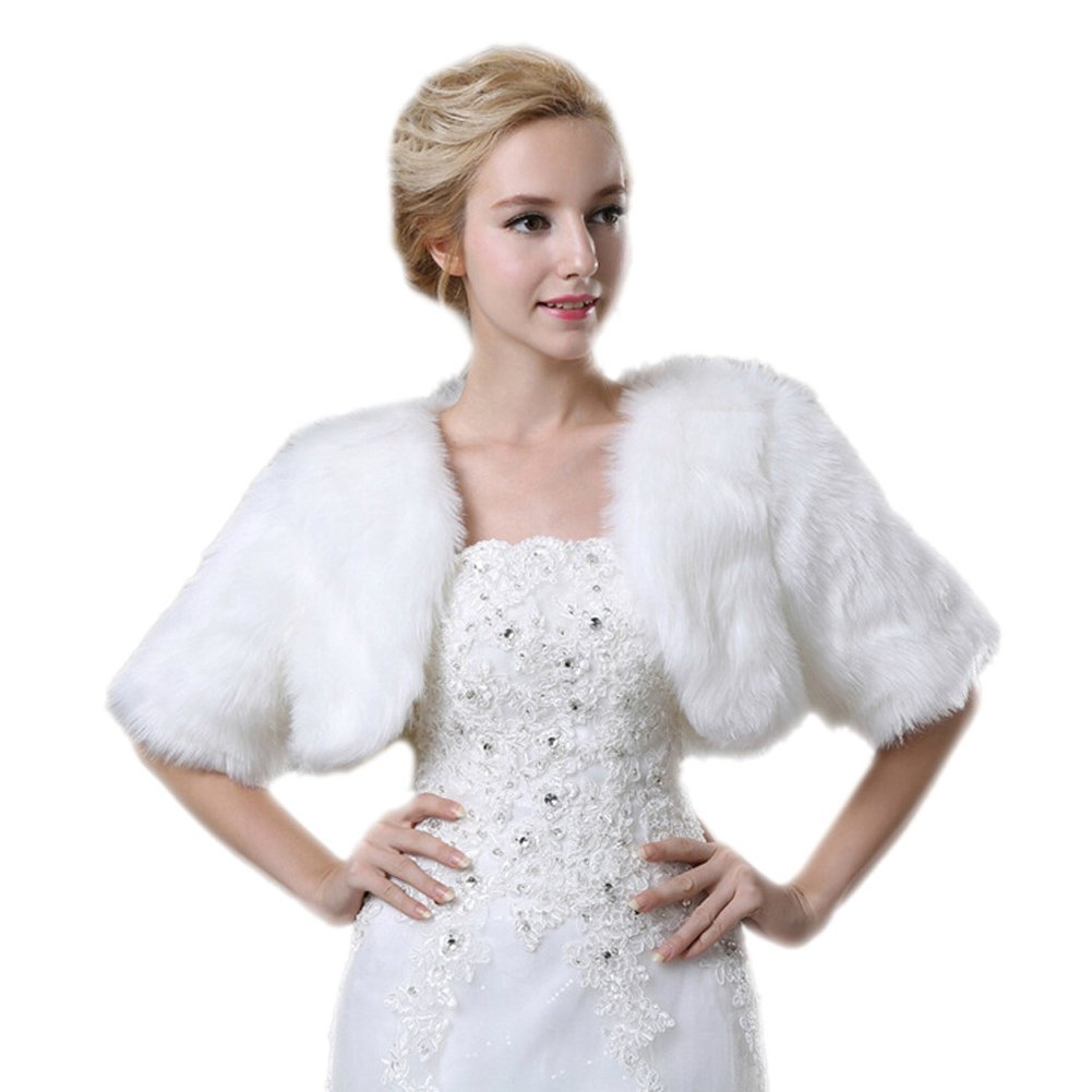 Liveinu Women's Half Sleeves Faux Fur Wedding Coat Wrap Shawl Bolero Shrugs For Bridal White