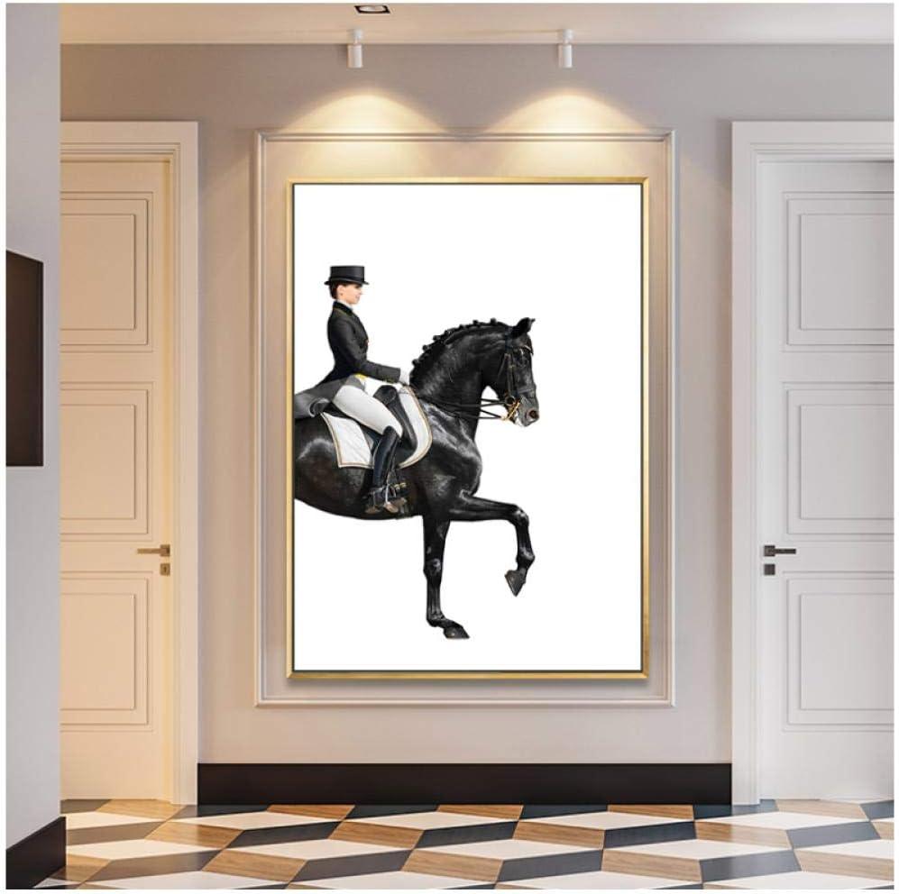 Figura de lujo moderna Caballo Pinturas de lienzo Carteles abstractos Imprimir cuadros de arte de pared para sala de estar Decoración de pasillo de casa -60x80cm (sin marco)