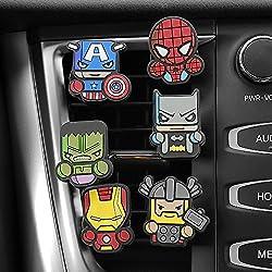 Random4real.com 3pcs/set Cute Automobile Car Vent Perfum Clip For Marvel Avengers Hero Figure Auto Interior Decoration Air Freshener Accessories