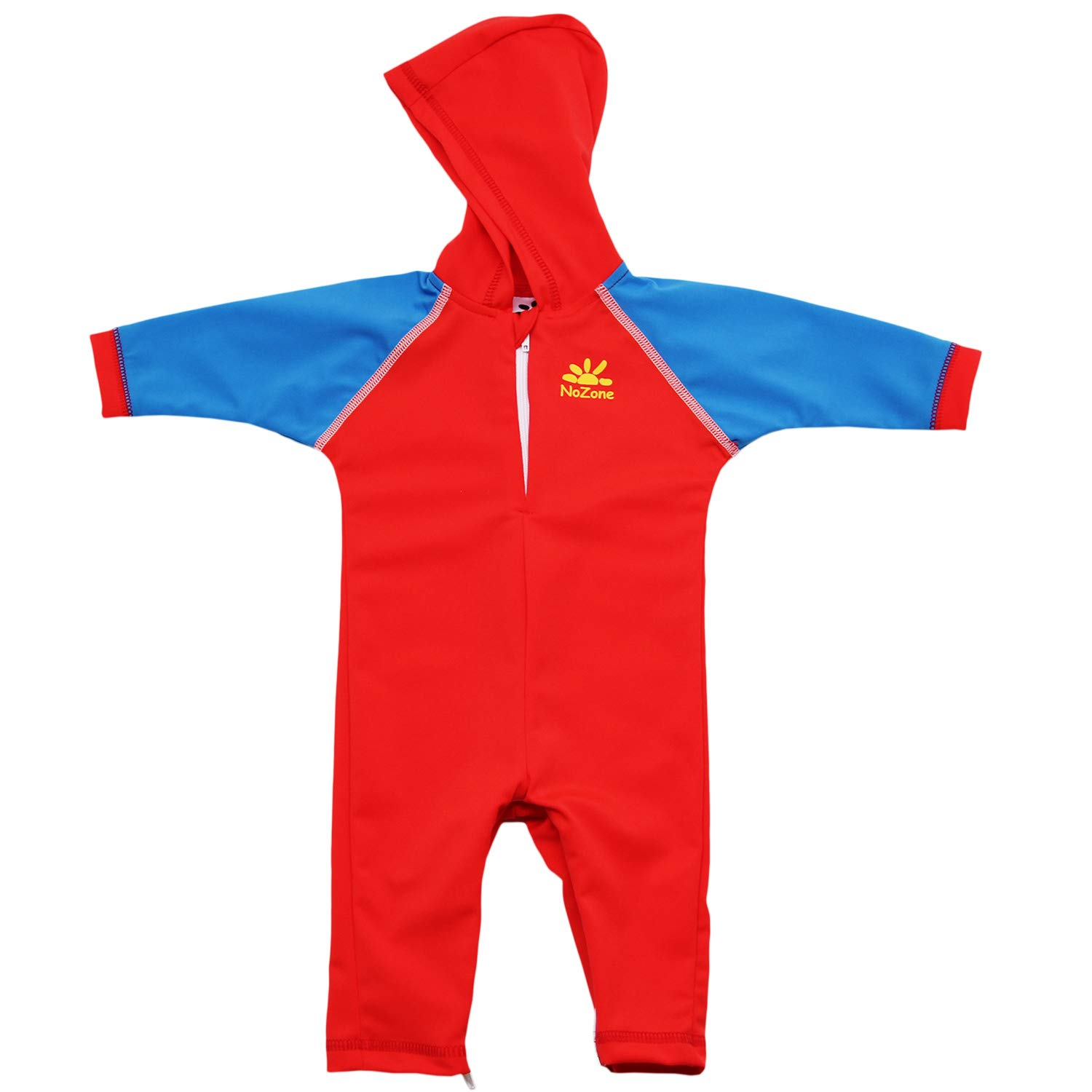 Nozone Kailua Sun Protective Hooded Baby Swimsuit in Red/Capri, 6-12 mo. by Nozone