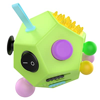 12 Sided Fidget Cube, ATIC Fidget Twiddle Cube Dodecagon Rubiks Cube Stress Relief Hand Toy Decompression for ADD, ADHD, Autism Kids and Adults, Green/Colorful: Toys & Games