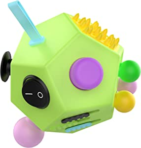 ATiC 12 Sided Fidget Cube, Fidget Twiddle Cube Dodecagon Stress Relief Hand Toy Decompression for ADD, ADHD, Autism Kids and Adults, Green/Colorful