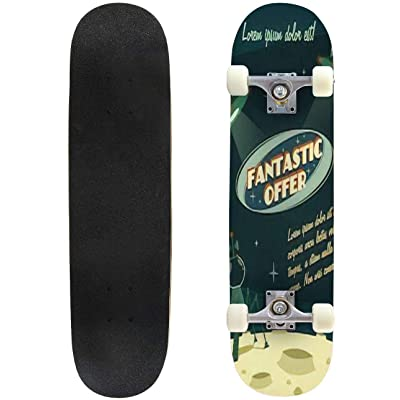Classic Concave Skateboard Offer Cosmic Space Background Longboard Maple Deck Extreme Sports and Outdoors Double Kick Trick for Beginners and Professionals : Sports & Outdoors