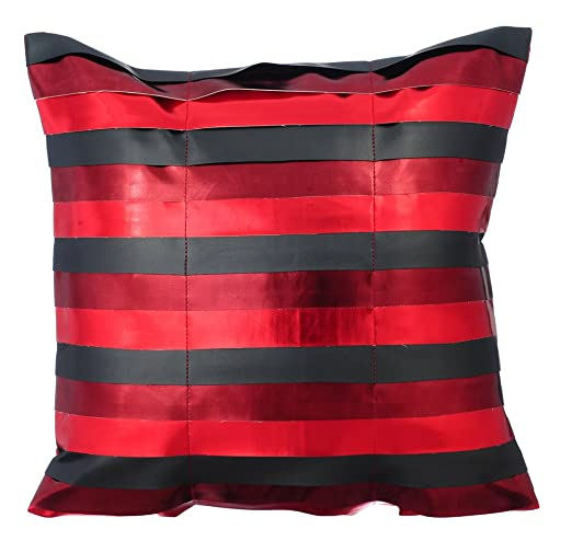 rojo funda cojin, cuero metalizado brillante rayas de cuero ...