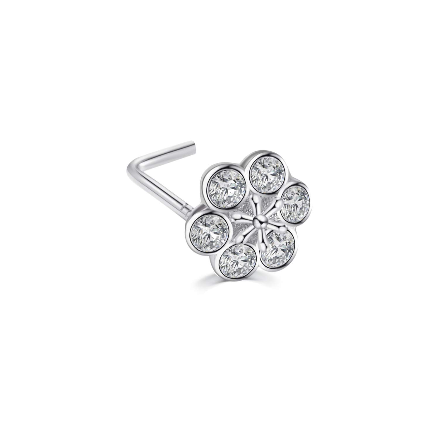 AOBOCO Sterling Silver 20G Flower Nose Ring L Shape Face Nose Stud with Swarovski Crystal