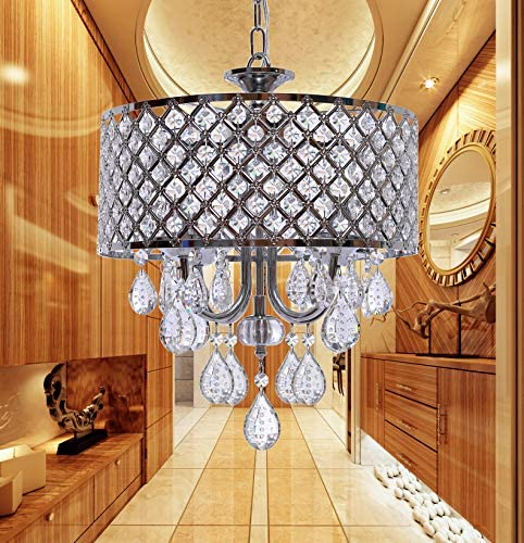Crystal Chandeliers Hanging Pendant Home Lighting, 4-Light, Diameter 14 Inches, Adjustable Height, for Bedroom, Living Room, Dining Room, LED Bulbs Included for Free Chrome Finish
