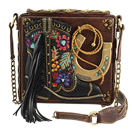 Mary Frances Line Dance Embellished Cowboy Boot-Western Theme Crossbody Handbag, Multi