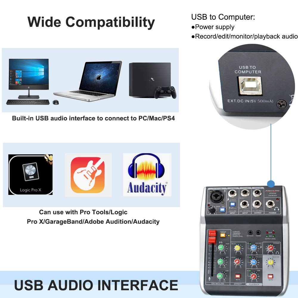 Audio Recording Mixer, 4-Input, 3-Band EQ, Portable USB Powered, w/USB  Audio Interface and Built In DSP for Mac/PC/PS4, Ideal for Webcasting,  Gaming,