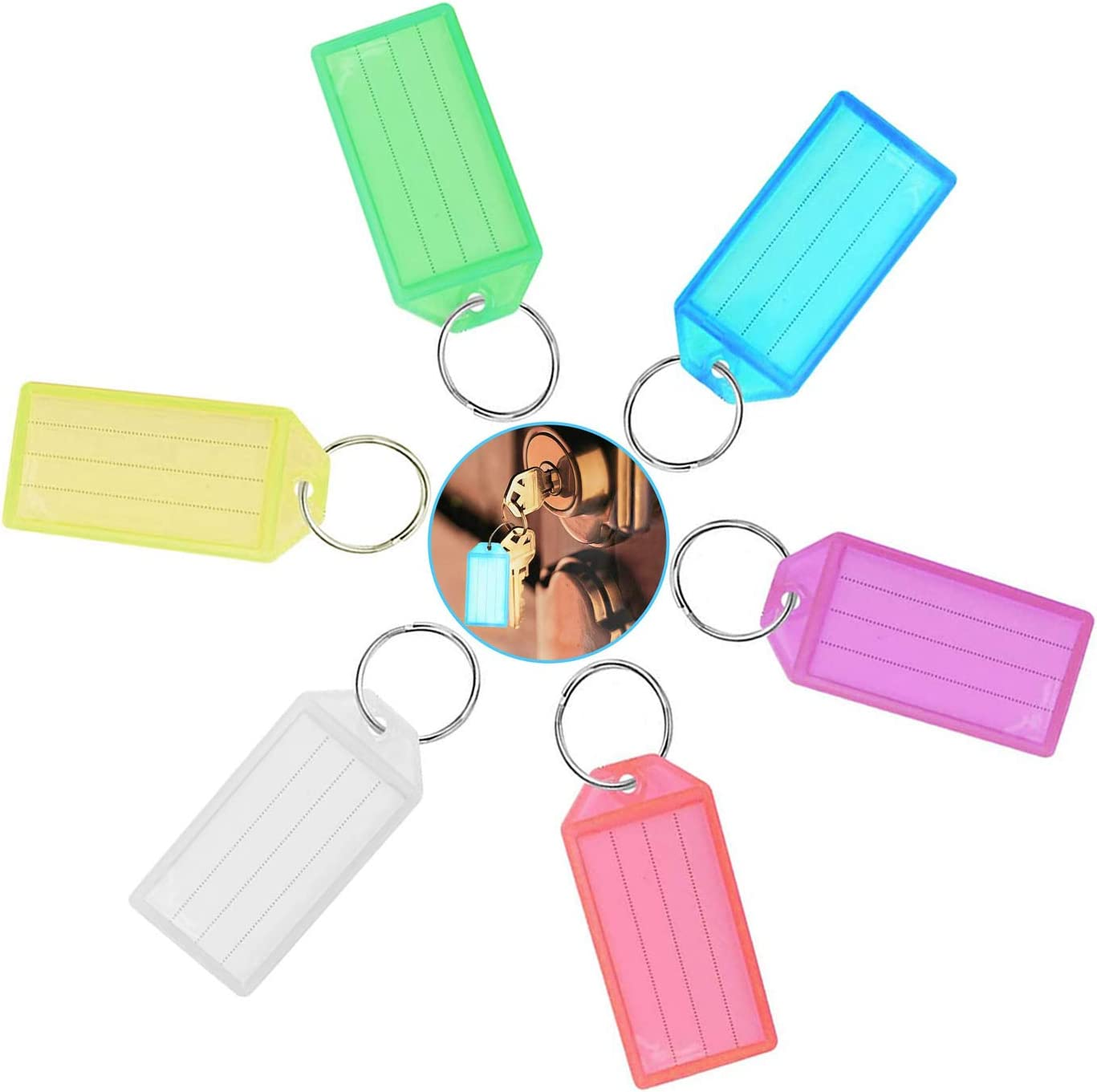 Key Fobs,Key Tags 60 Pack Coloured Keyring Tags Fobs Plastic Luggage Labels with Ring and Labels for Luggage Pet and Bag School Office Home Luggage 6 Colors