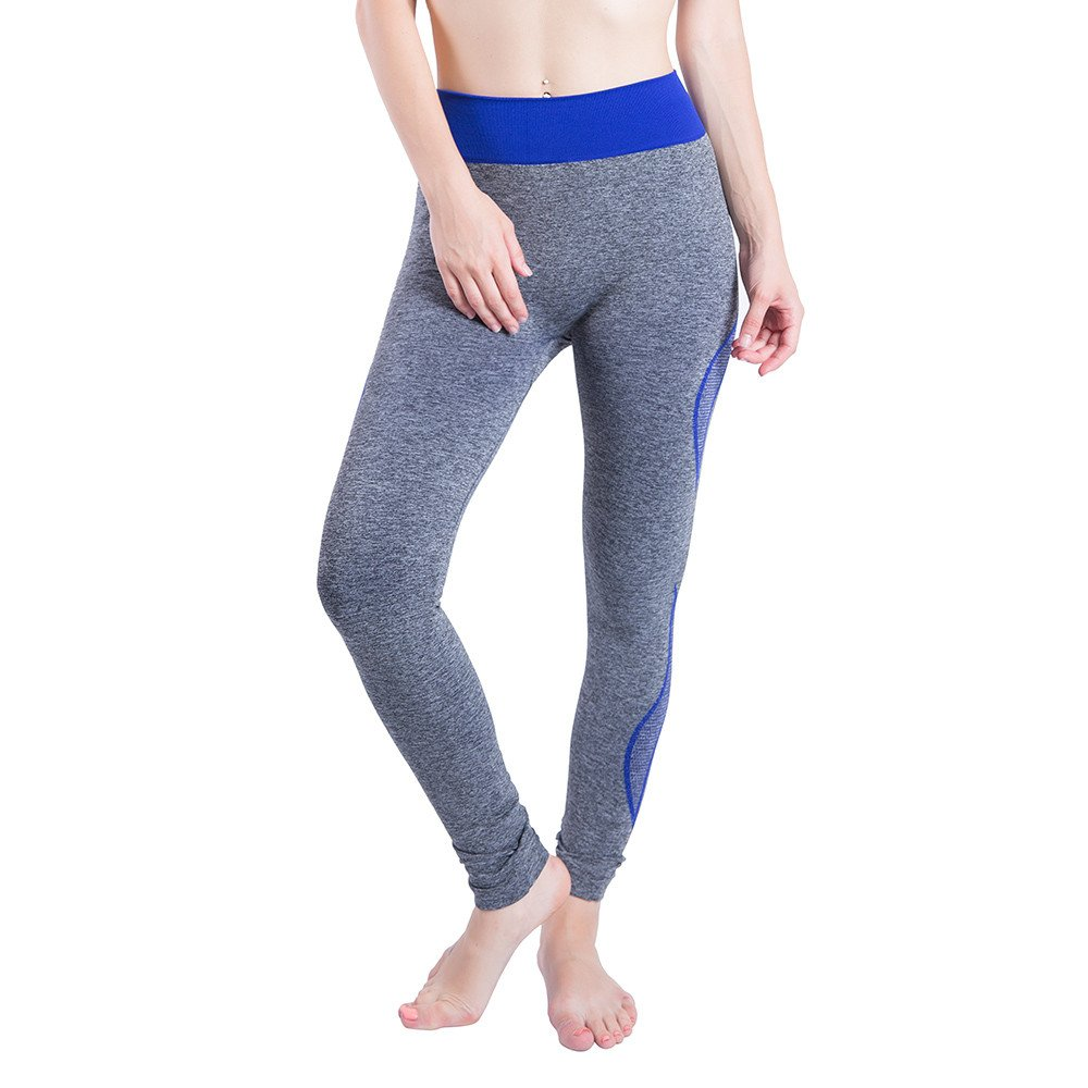 iLUGU Women Gym Yoga Patchwork Sports Running Fitness Leggings Pants Athletic Trouser(S,Blue-36)