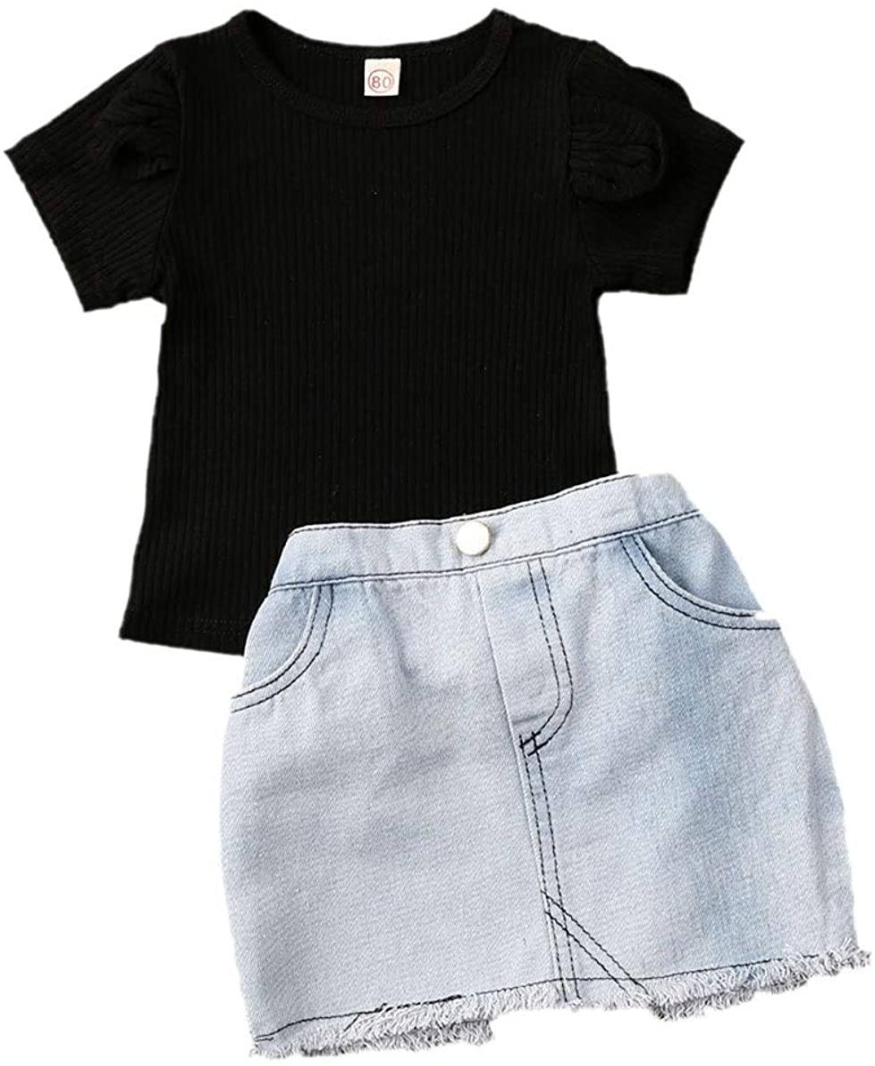 Girls Clothing Sets Outfits Summer Children T-shirt Skirt 2Pcs Kids Clothes