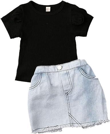 2pcs//Set Toddler Kids Baby Girls T-shirt Tops+Denim Skirt Dress Outfits Clothes