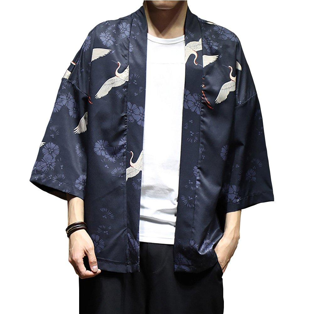 Men Japanese Flying Crane Kimono Coat Loose Cardigan Jacket Top (2, US XS/Asia M: Bust 106cm/41.73'') by Hao Run (Image #1)
