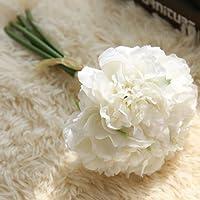 GEZICHTA realistico bouquet di rose artificiali 5teste di fiori finti peonia fiore di seta falso foglia casa decorazione della festa nuziale, decorazione di fiori finti per casa festa di nozze