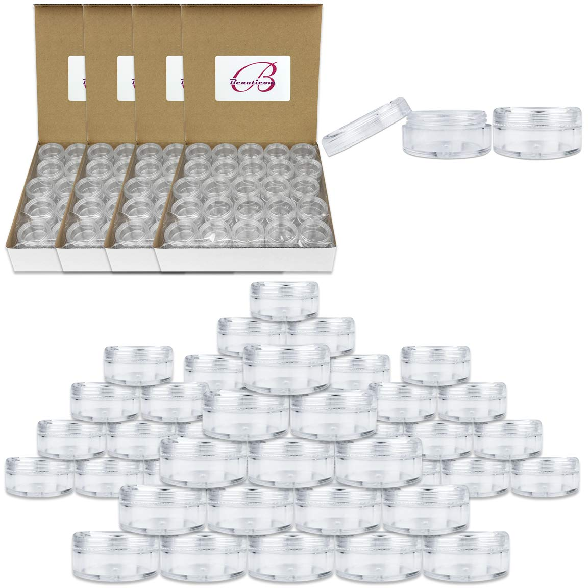 (Quantity: 500 Pieces) Beauticom 5G/5ML Round Clear Jars with Screw Cap Lids for Cosmetics, Medication, Lab and Field Research Samples, Beauty and Health Aids - BPA Free