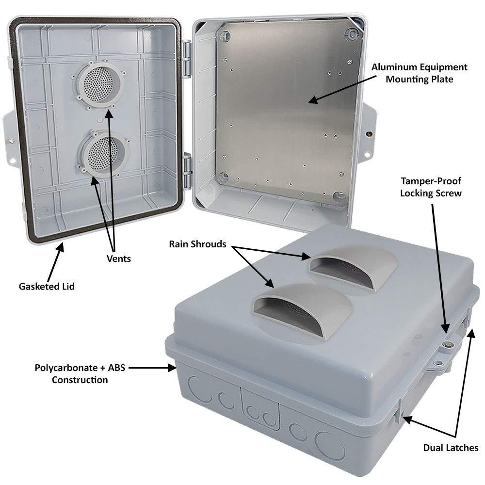 Altelix Vented NEMA Enclosure (12'' x 8'' x 3.2'' Inside Space) Polycarbonate + ABS Weatherproof NEMA Box with Aluminum Equipment Mounting Plate by Altelix (Image #2)