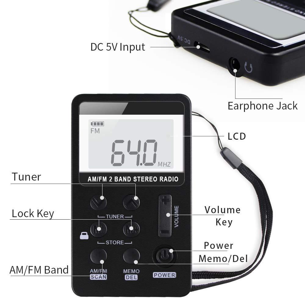 Amazon.com: Benss AM FM - Radio de bolsillo con pantalla LCD ...