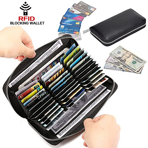 RFID Blocking Leather Wallet 36 Slots Card Holder Large Zipper Purse for Women/Men (Black) by Szezon