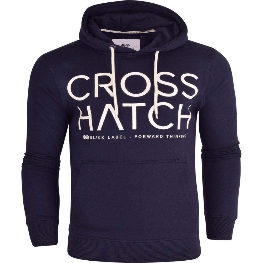 Crosshatch Mens Designer Casual Hooded Logo Top Hoody Fleece Sweatshirt Jacket Overhead Pullover