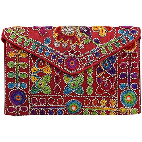 (Brazeal Studio Collection Women's Ethnic Embroidered Envelope Clutch Fashion Evening handbag purse)