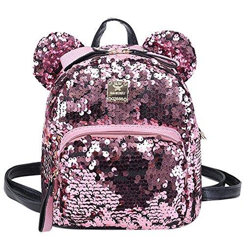Bags us Women Girls Kids Dazzling Sequins Backpack with Cute Ears Schoolbag Shoulder Bag Satchel -