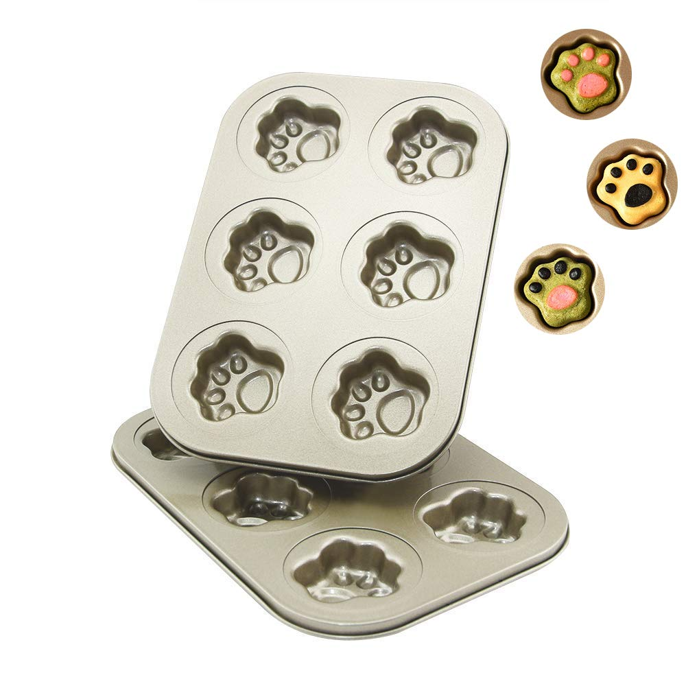 AOGVNA 6-Cup 2 Pack Madeleine Pan Nonstick Cat Claw Heavy Carbon Steel Golden