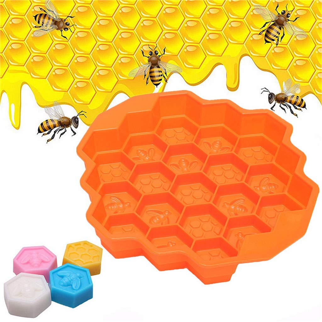 Jeeke Bee Honeycomb Cake Mold Honeycomb Pans Can Use for Mini Lasagna Cups,Baked Oatmeal Cups,Chicken Pot Pie Cups