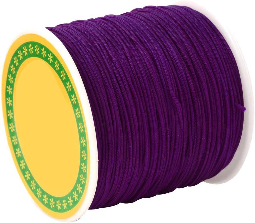 DarkKhaki Imitation Silk String Thread Braided Nylon Cord 0.8mm about 100Yards