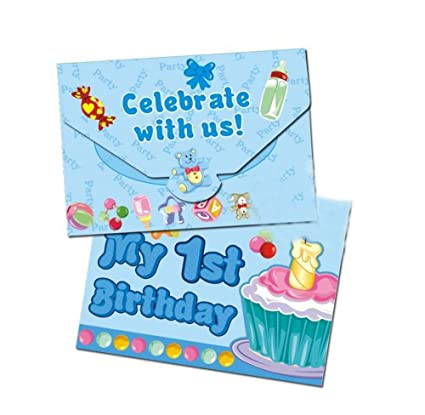 amazon com baby boy 1st birthday invitation cards 20 pcs toys games