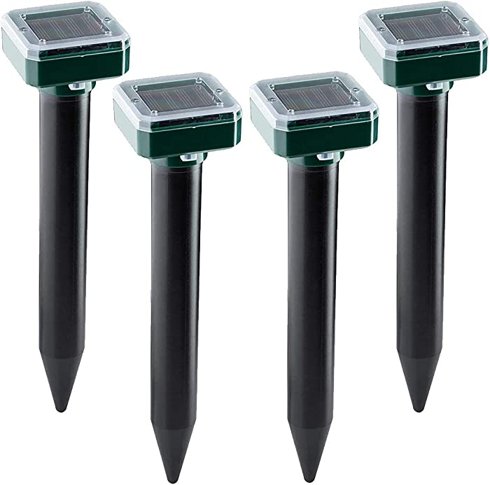 Solar Sonic Mole Repellent,4 Pack,Ultrasonic & Solar Powered Repellent for Outdoor, Groundhog Repellent Snake Rodent Gopher Spikes Chaser Pest Control for Lawn and Garden of Outdoor
