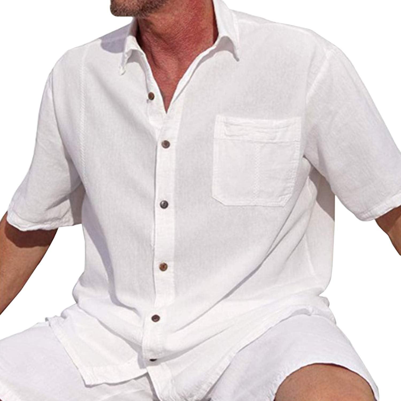 Mens Short Sleeve Casual Button Down Dress Shirts Regular Fit Summer Beach Tops