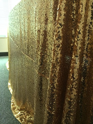 LQIAO 10PCS 90x132-Inch Rectangle Sequin Tablecloth-Gold for Lavender Wedding Party Decoration by LQIAO (Image #3)