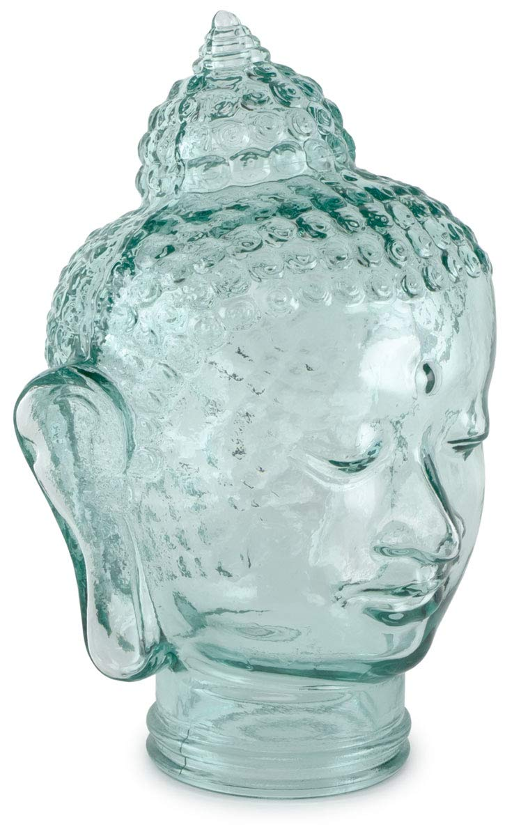 Traders and Company Spanish 100 Recycled Clear Glass Buddha Head – 11.5 H