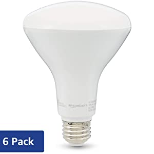 AmazonBasics 65W Equivalent, Soft White, Dimmable, 10,000 Hour Lifetime, BR30 LED Light Bulb | 6-Pack