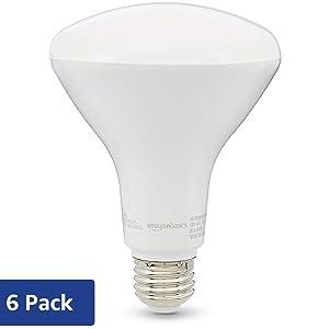 AmazonBasics 65W Equivalent, Soft White, Dimmable, 10,000 Hour Lifetime, BR30 LED Light Bulb | 6-Pack