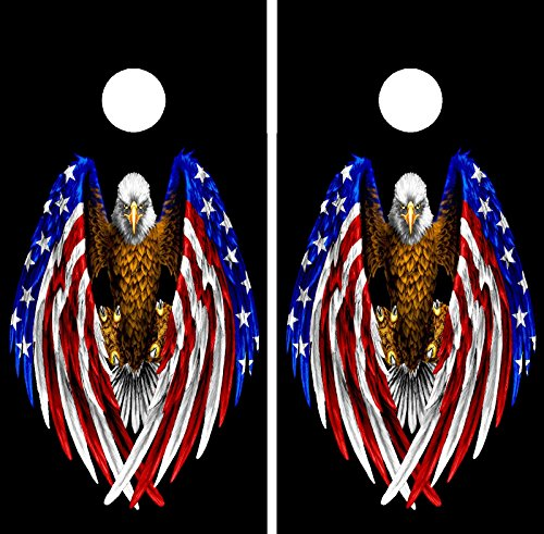 C195 American Flag Eagle Cornhole WRAP Wraps Laminated Board Boards Decal Set Decals Vinyl Sticker Stickers Bean Bag Game Vinyl Graphic Tint Image