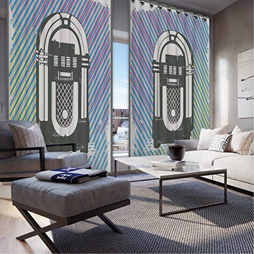MOOCOM Jukebox,Christmas Curtains,Radio Party Dark Grey Vintage Box with Abstract Colorful Stripes OKJEFF 191486,Home Curtains,W52in x H108in (Party Absolute Radio Christmas)