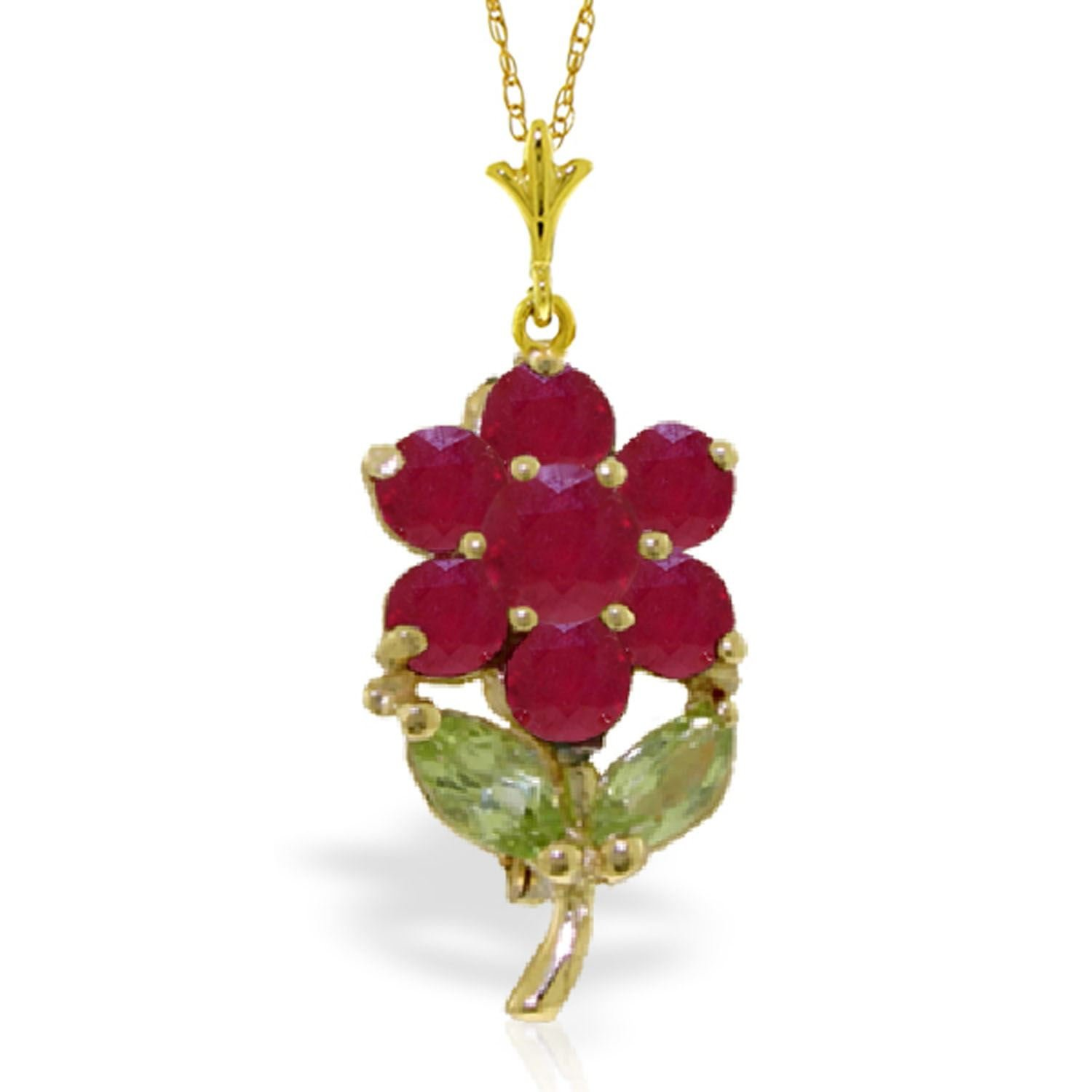 ALARRI 1.06 Carat 14K Solid Gold Fleur Ruby Peridot Necklace with 20 Inch Chain Length