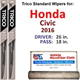 Wiper Blades for 2016 Honda Civic Driver & Passenger Trico Steel Wipers Set of 2 Bundled