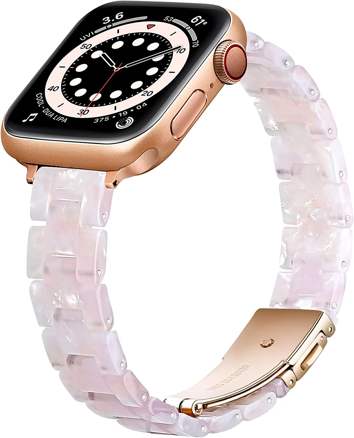 OUHENG Slim Resin Strap Compatible with Apple Watch Bands 40mm 38mm 44mm 42mm, Lightweight Thin Band with Metal Buckle for iWatch SE Series 6/5/4/3/2/1 (Pink Flower/Rose Gold, 40mm 38mm)