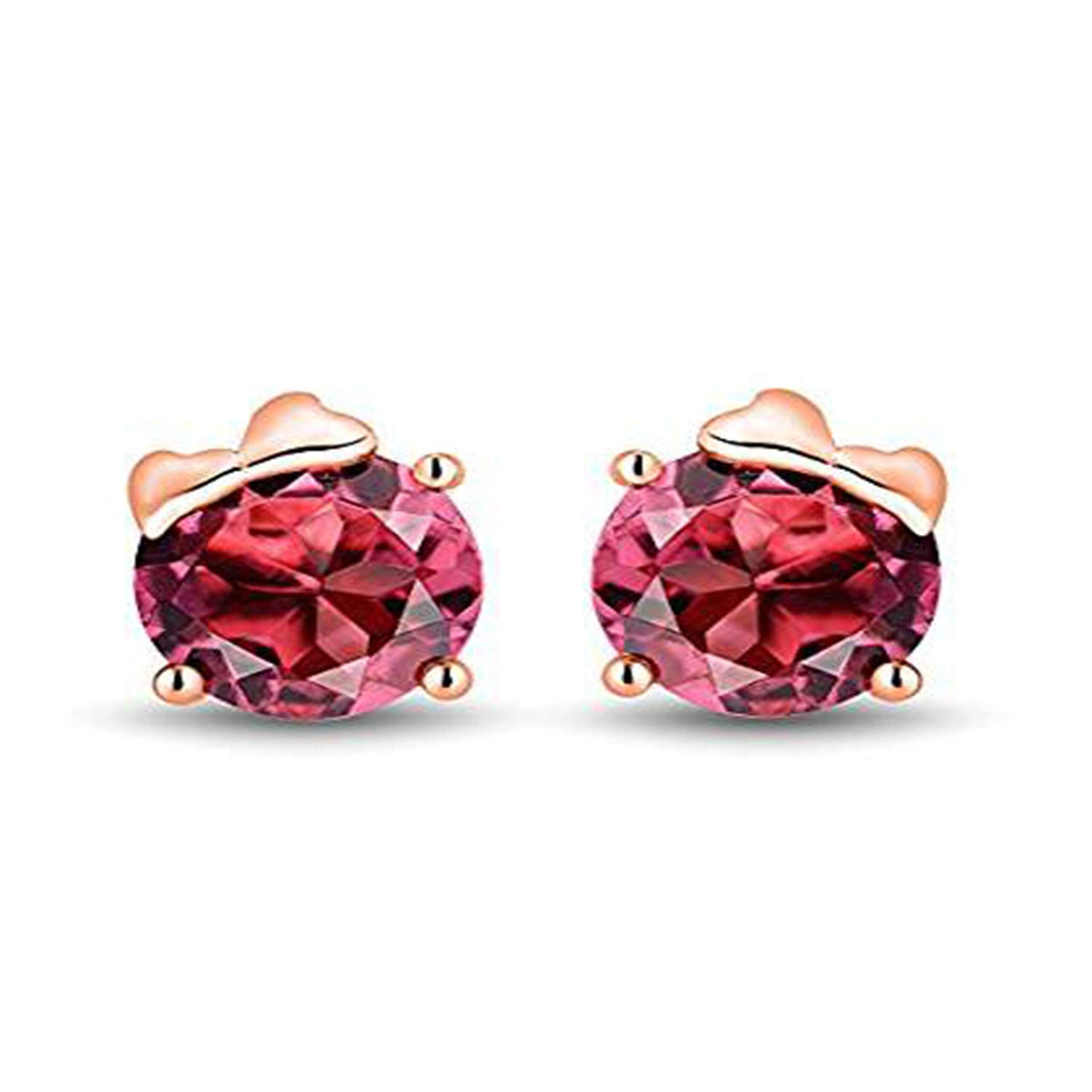 Girls Jewelry Simulated Pink Ruby Studded 14K White Gold Plated Screwback Stud Earrings For Women