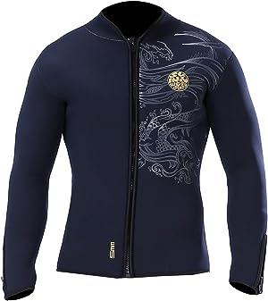 pandawoods Wetsuit top 5mm Long Sleeve Neoprene Wetsuit Jacket for Men Women