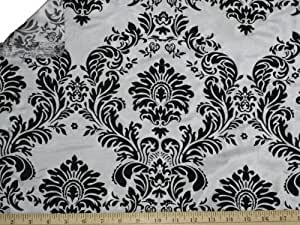 58/60-Inch Wide Damask Flocking Taffeta Fabric, (3 Yards) Black On White. by LA Linen